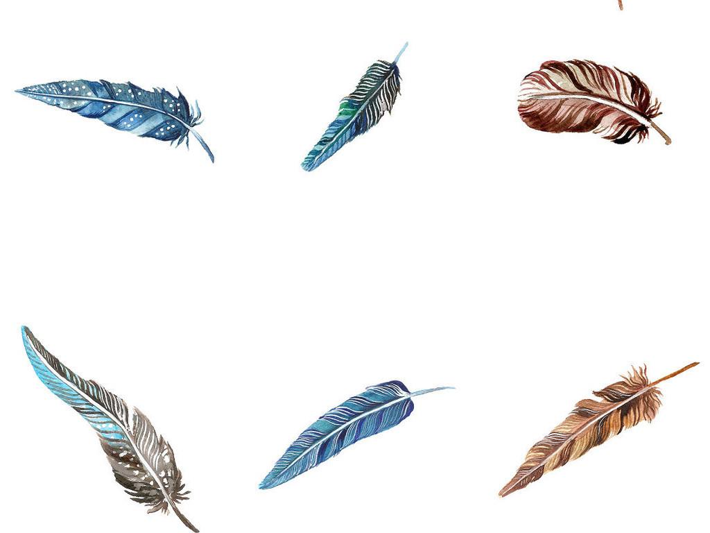 精美唯美手绘水彩羽毛免抠png素材系列1