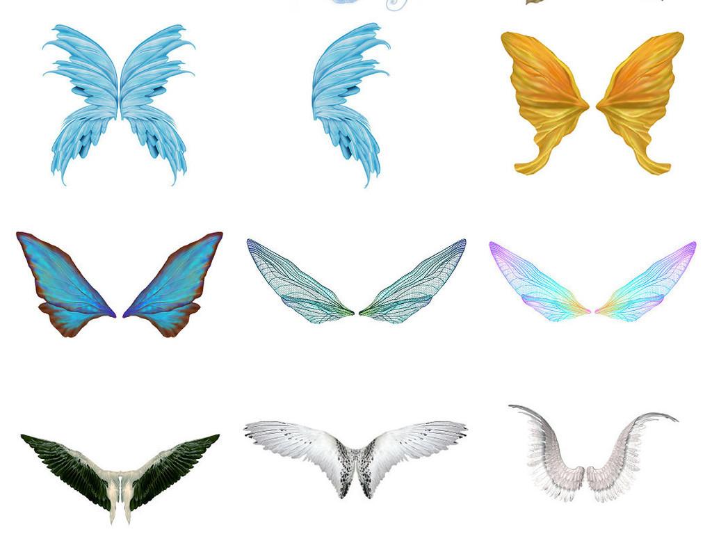 卡通翅膀翼蝴蝶翅膀ps设计免抠素材2图片