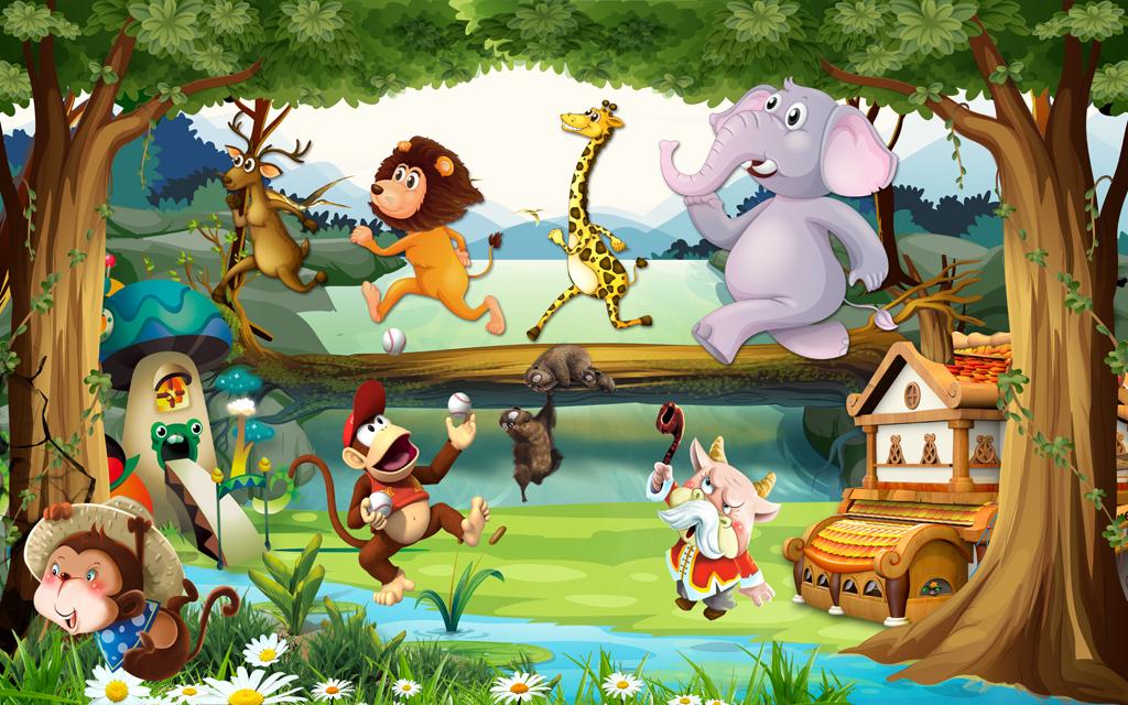梦幻森林唯美卡通动物总动员儿童房壁画