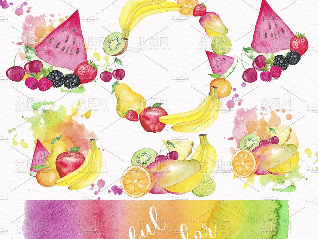 西瓜草莓手绘人物手绘背景手绘墙