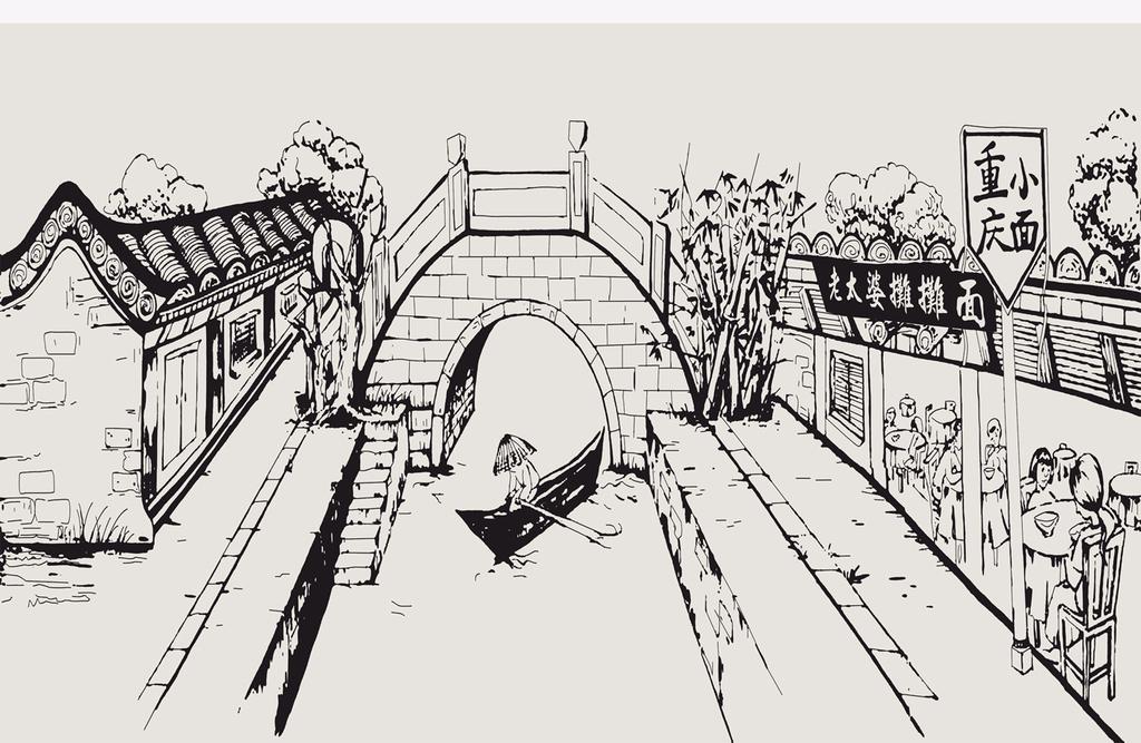 手绘建筑街道(图片编号:16477036)_手绘电视背景墙_我