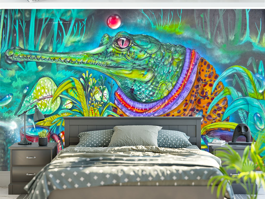 手绘鳄鱼创意涂鸦