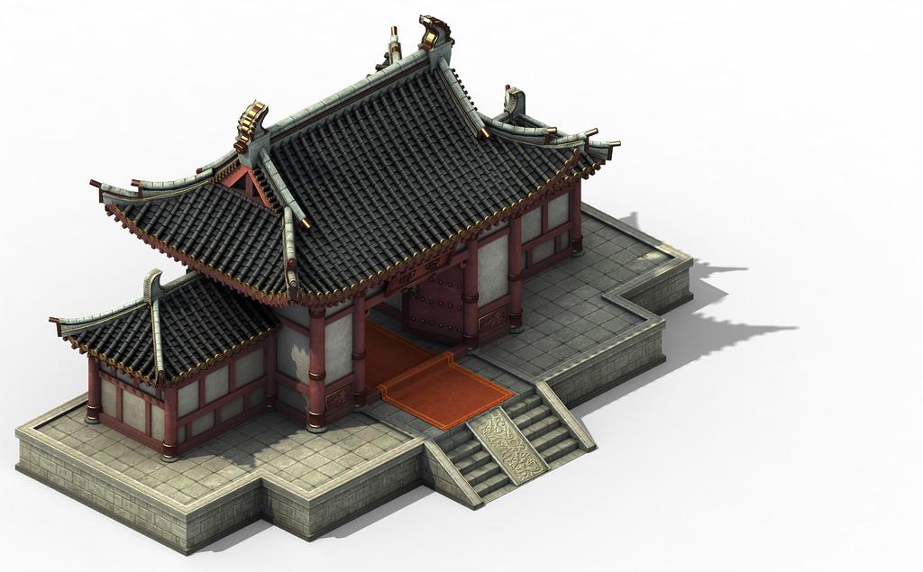 中国古代宅邸建筑模型游戏府邸门口围墙模型