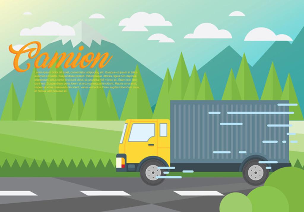 手绘搬家运输插画