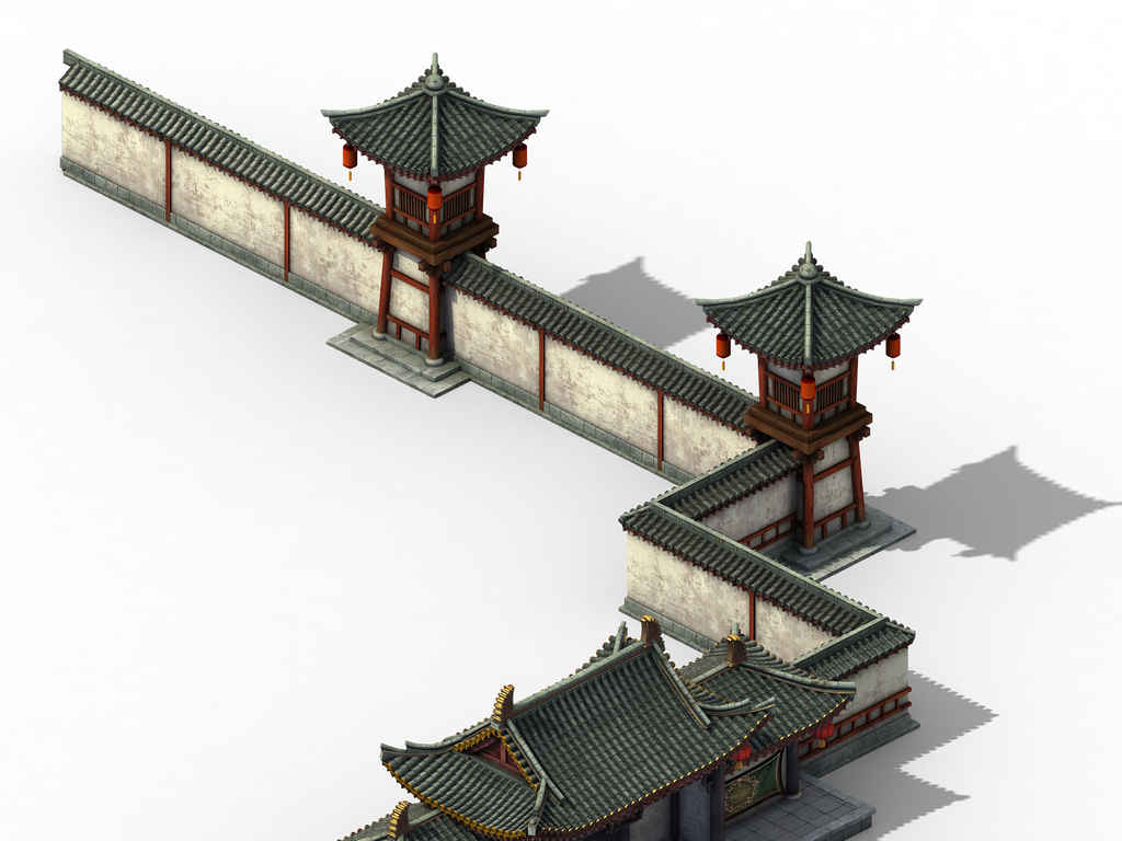 中国古代军营门口建筑模型营地瞭望塔围墙