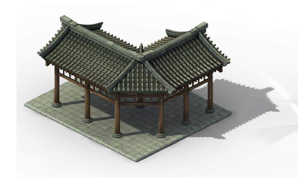 中国古代走廊建筑模型游戏场景组件素材