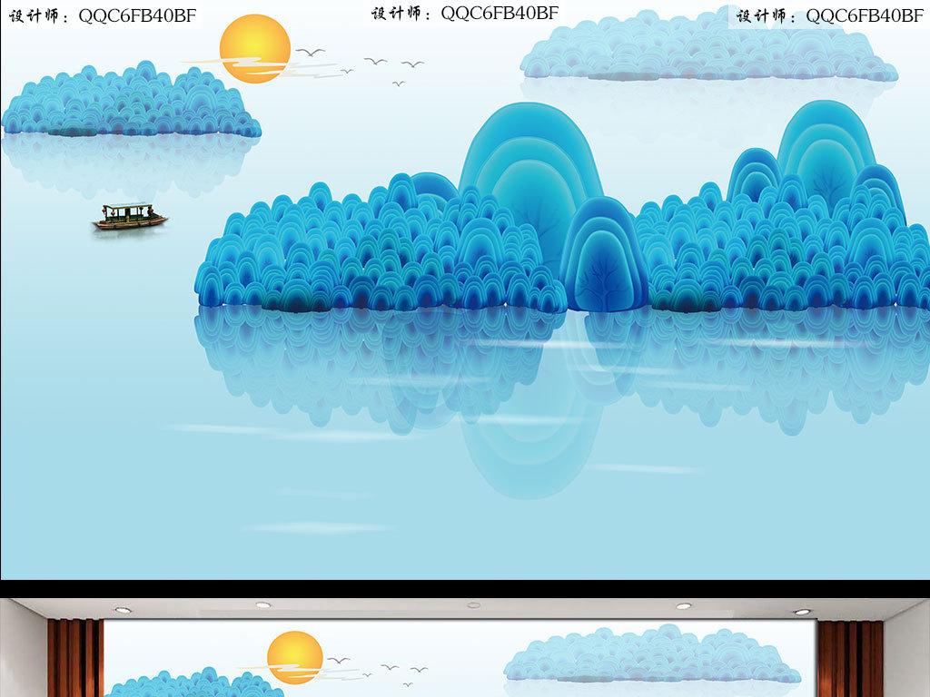 最简单水粉画-中式简约水彩画背景墙