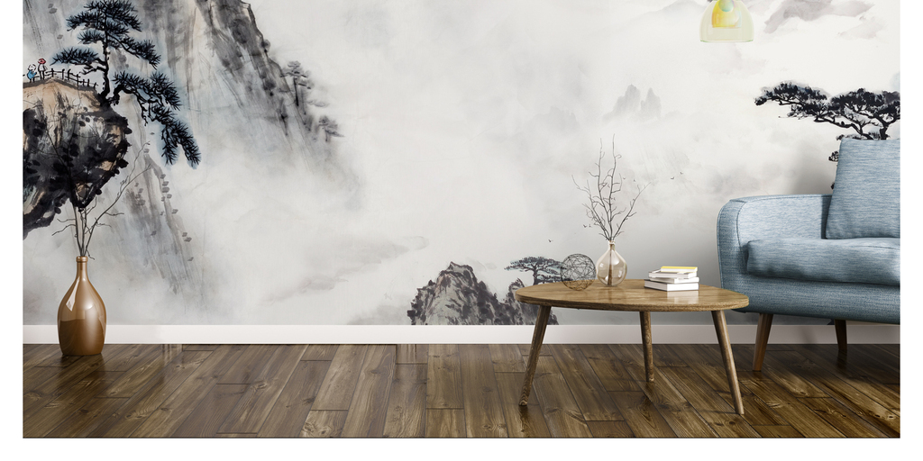 新中式手绘水墨中国风山水画电视背景墙