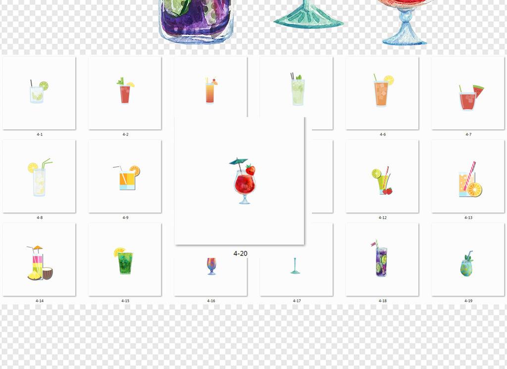 夏日手绘水果手绘素材免抠素材水果手绘水果素材果汁素材水果果汁冷饮
