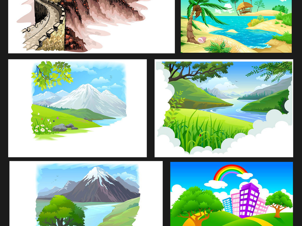 卡通手绘风景插画eps矢量素材