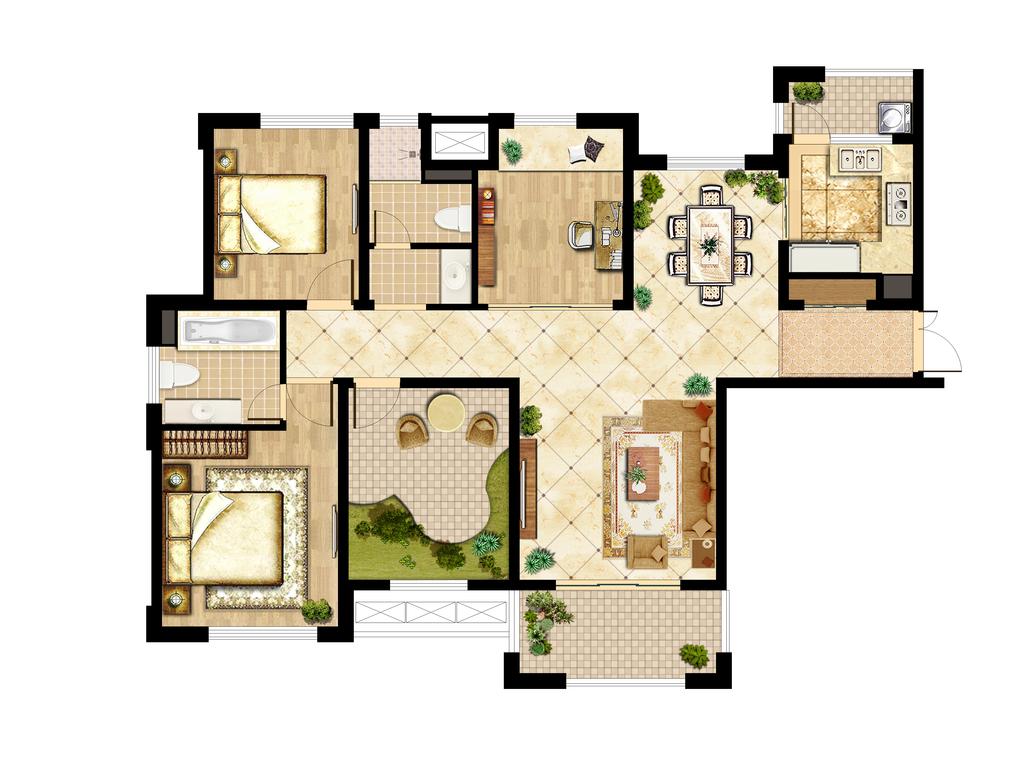 高清三室两厅户型彩色平面图psd分层素材