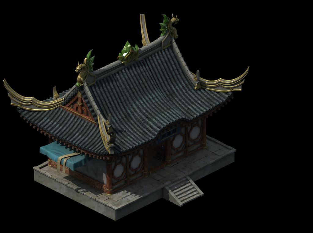 3d中国古代建筑模型游戏杂货铺宝石店建筑