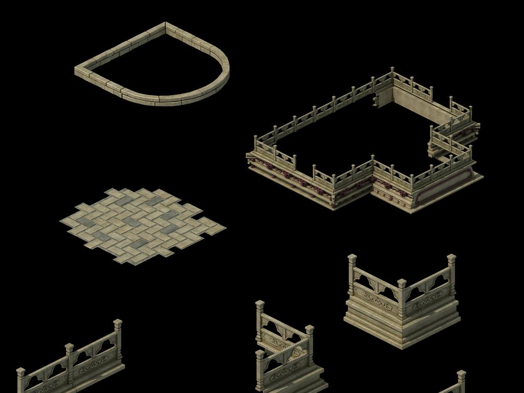 中式栏杆古代石墙古代雕刻护栏古代石头护栏古代木栏杆素材舞台围栏