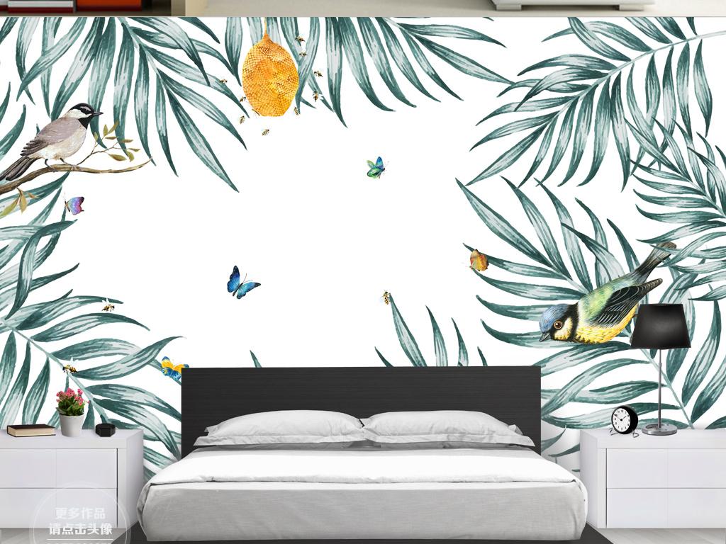 北欧现代简约手绘热带植物叶子背景墙壁画