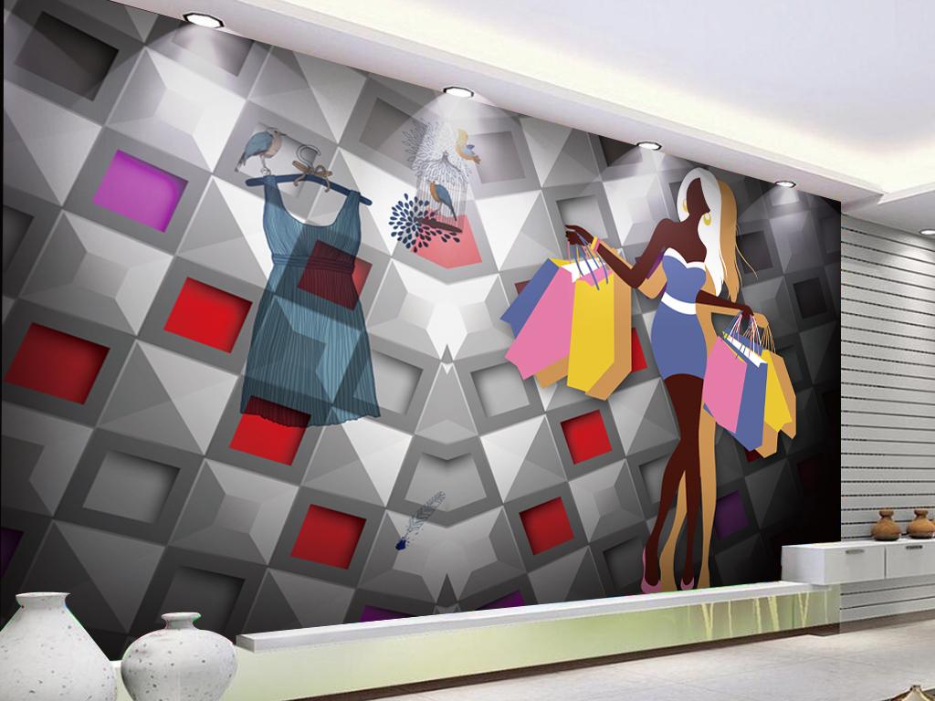 3d立体服装店手绘美女商场工装背景墙