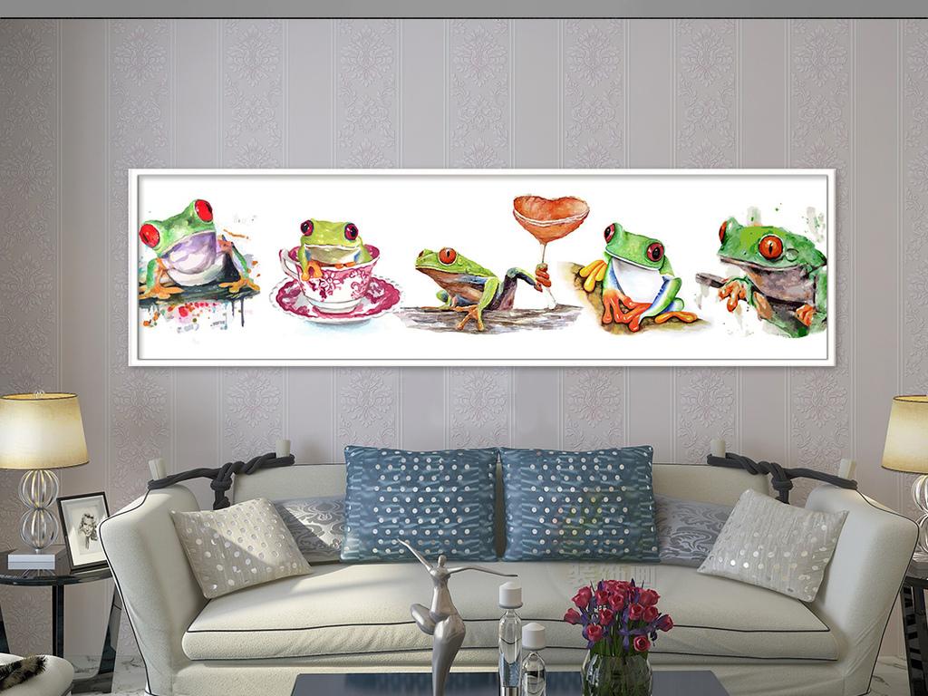 时尚简约水彩手绘卡通青蛙装饰画