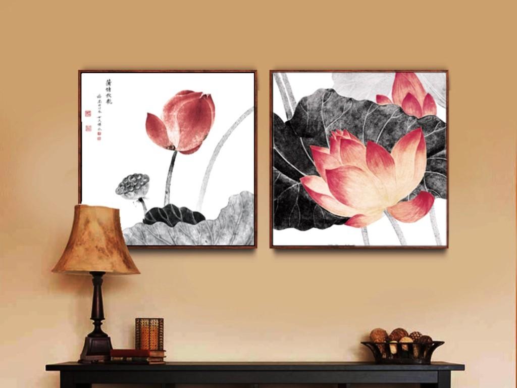 新中式装饰画荷花新中式禅意简约素雅高清图片
