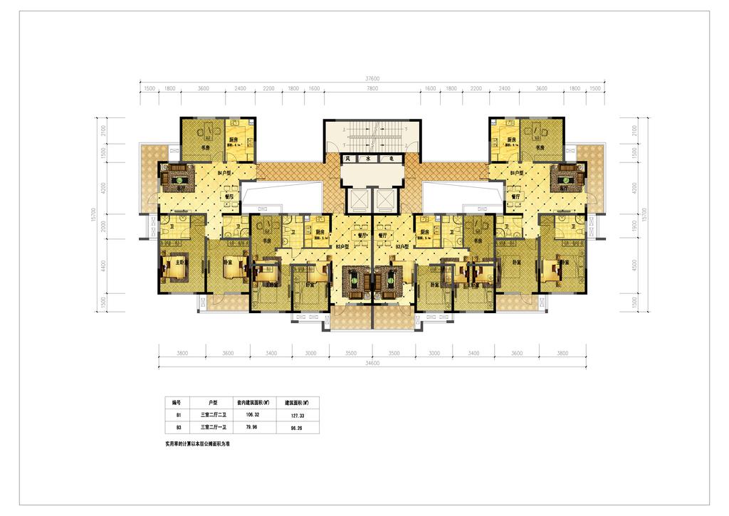 cad图库 彩色平面图 家装彩色平面图 > 高清三室两厅户型彩色平面图