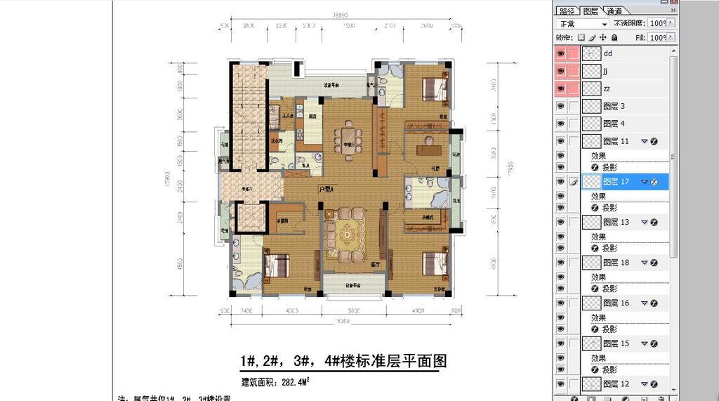 cad图库 彩色平面图 彩色立面图 > 高清三室两厅户型彩色平面图psd