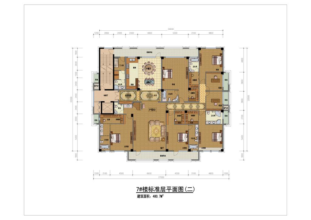 cad图库 彩色平面图 家装彩色平面图 > 高清四室两厅户型彩色平面图