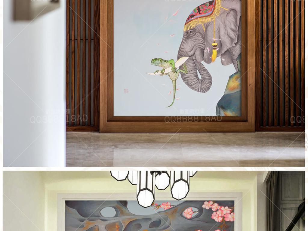 新中式寓意动物纯手绘原创油画艺术玄关