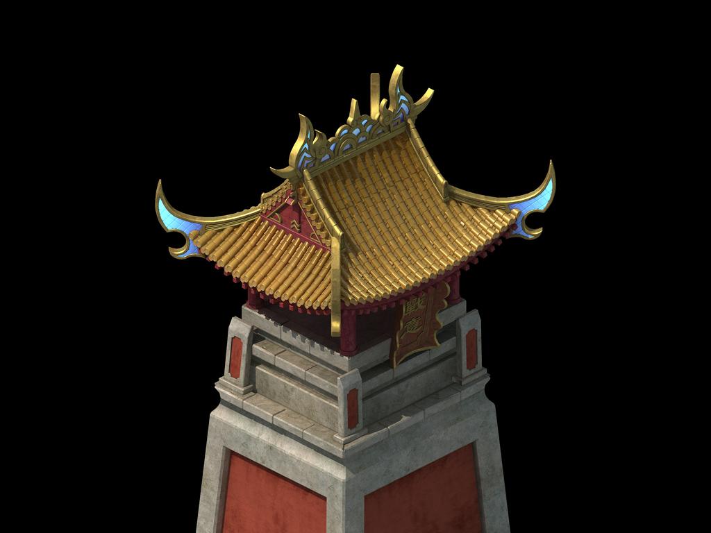 中国古代皇城哨塔防御塔模型皇宫副建筑