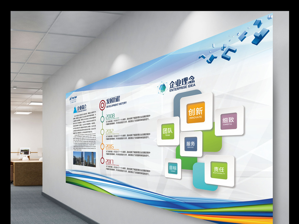 企业文化形象墙公司简介展板