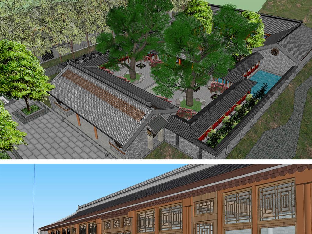 原创新中式四合院博物馆su模型图片