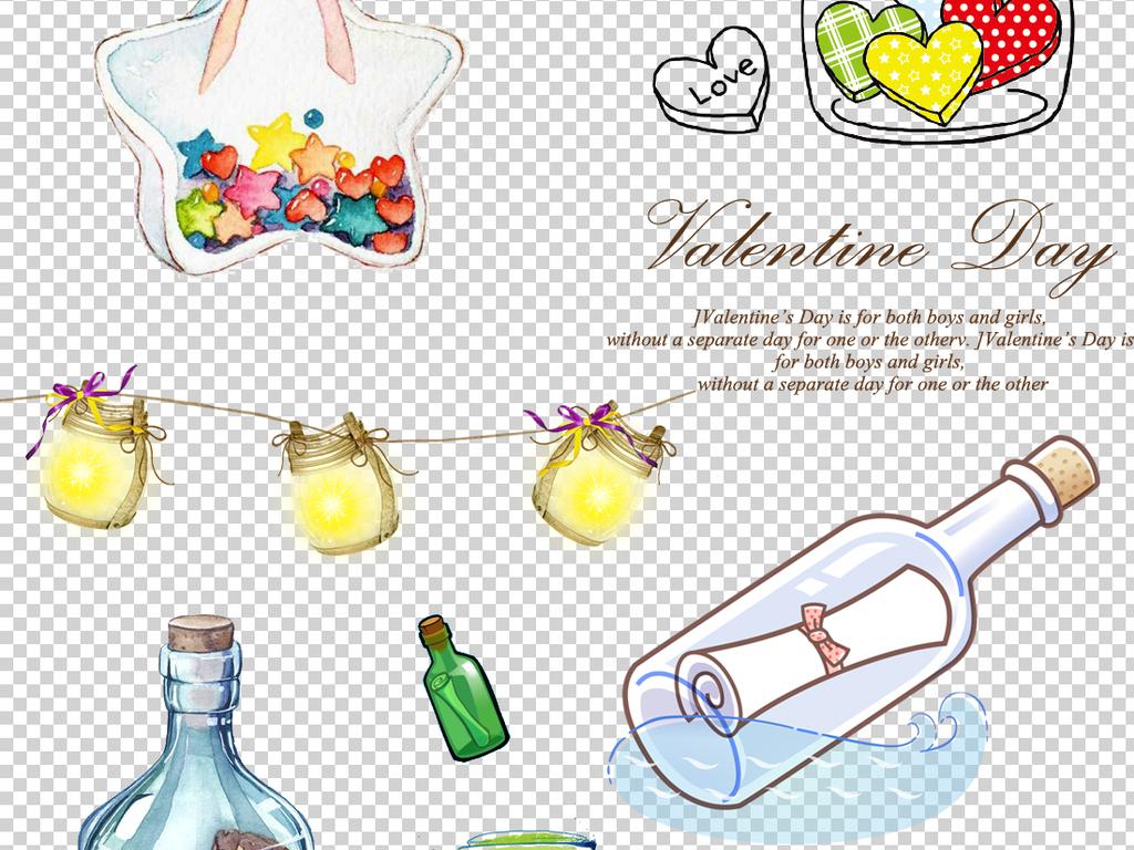 许愿树卡通漂流瓶手绘漂流瓶手绘