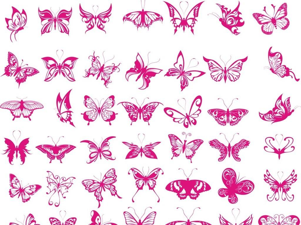 缤纷精美花纹蝴蝶剪影丝印烫印雕琢刻绘矢量图设计素材