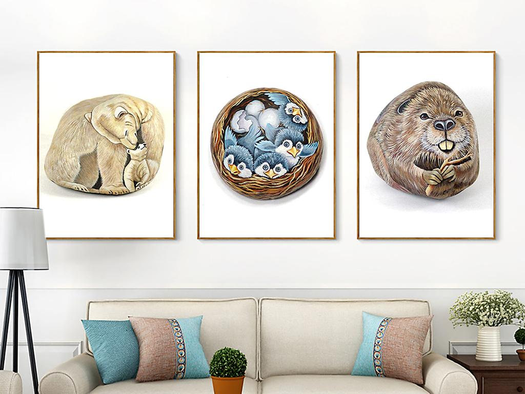 现代简约创意手绘动物石头记无框画