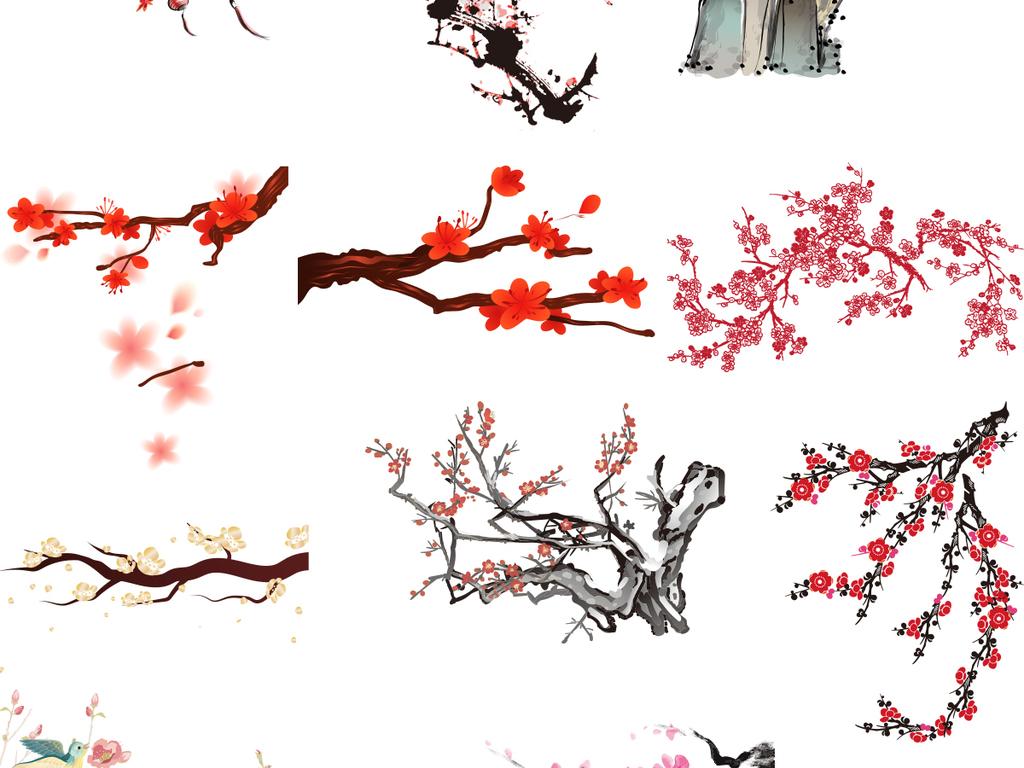 中国风水墨水彩手绘工笔写意梅花矢量素材
