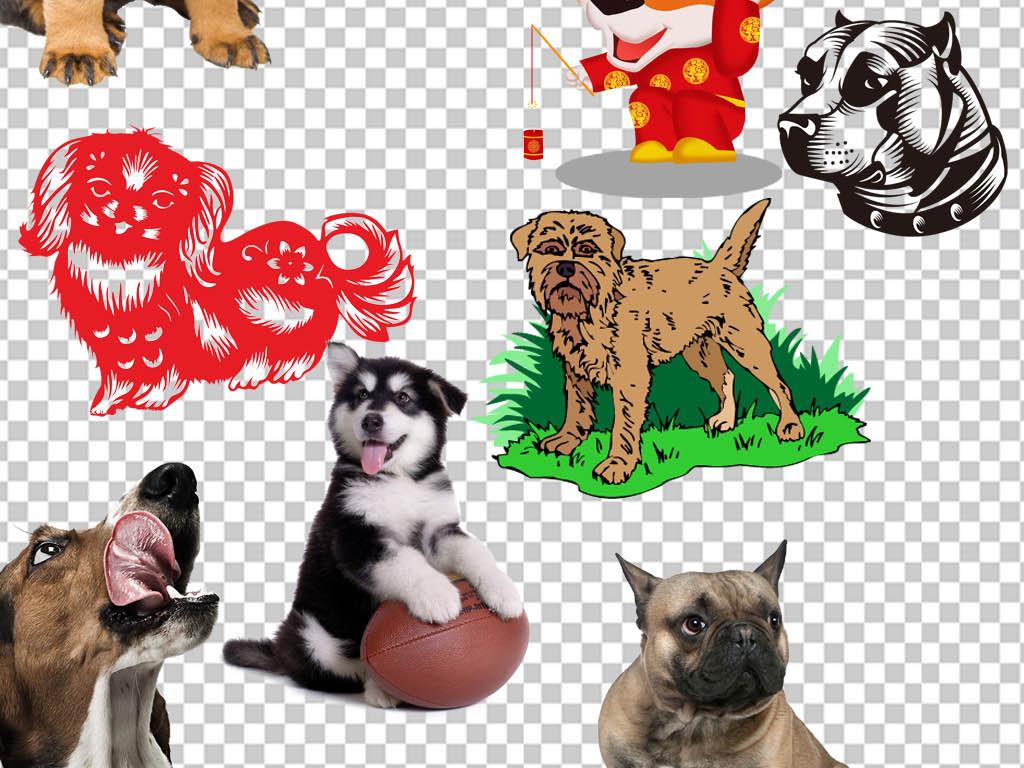 手绘狗狗背景素材狗年素材卡通