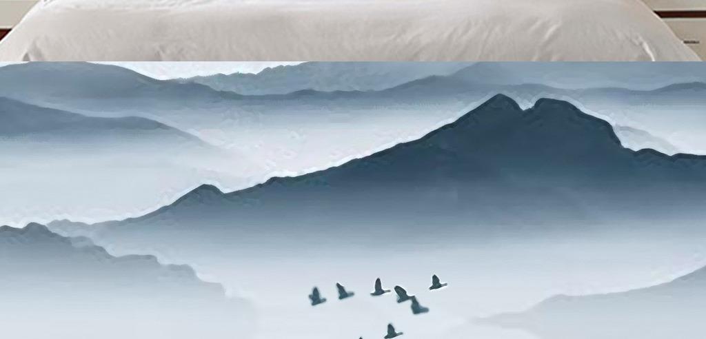 新中式水墨山水唯美意境时尚装饰画床头画