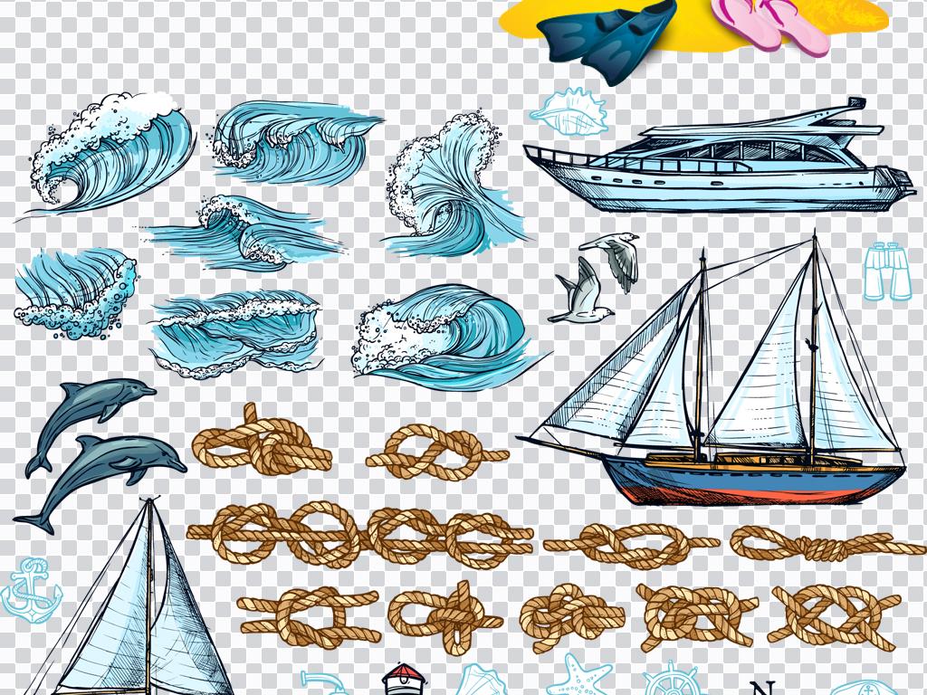 阳光海浪图片手绘素描