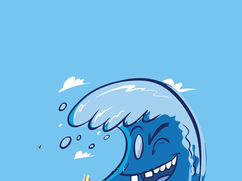卡通图案插画大海