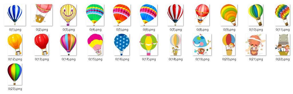 卡通手绘彩色热气球海报素材png