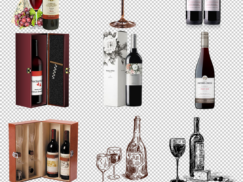 酒瓶手绘红酒葡萄瓶子酒瓶子酒桶红酒葡萄酒高档红酒