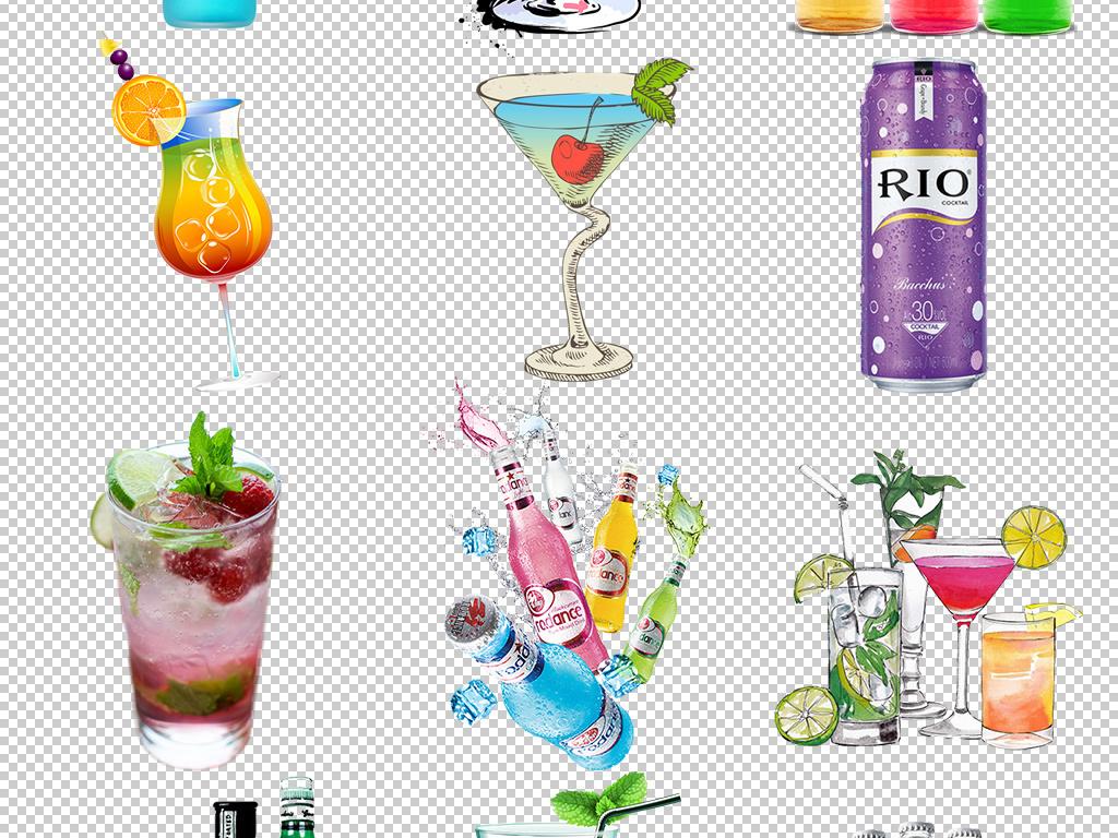 五颜六色洋酒鸡尾酒饮料免扣背景图片