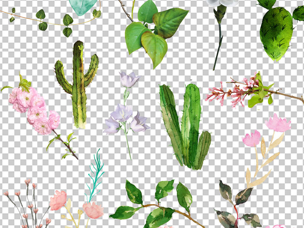 叶子素材绿叶素材水彩画素材手绘pop手绘海报手绘pop