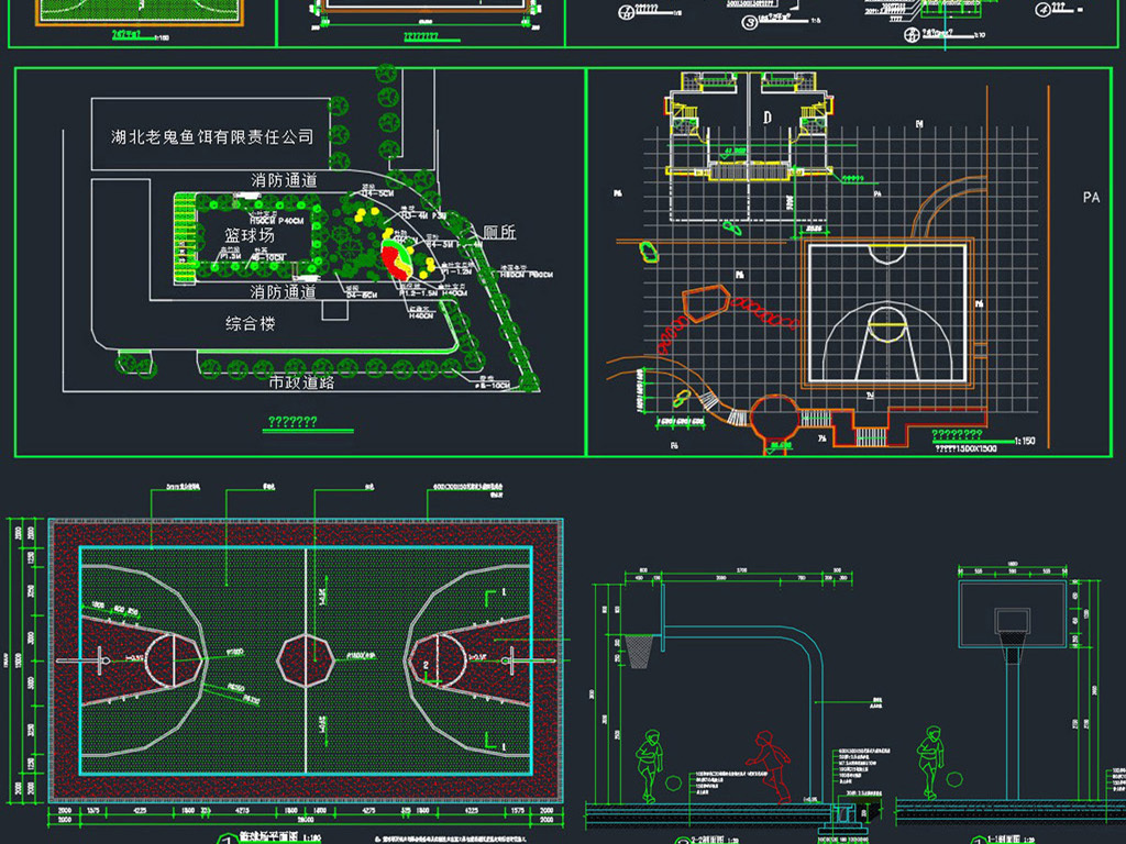 排球场平面�_运动场地篮球场排球场羽毛球场网球场足球场平面设计