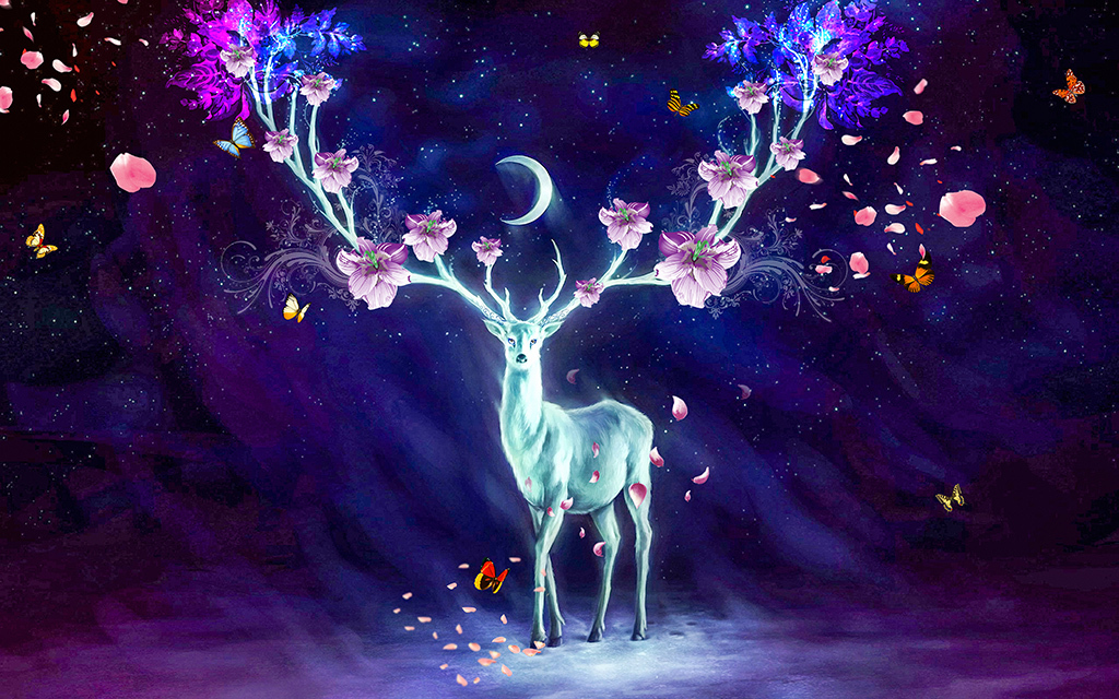 梦幻星空月亮手绘麋鹿北欧壁纸背景墙墙纸