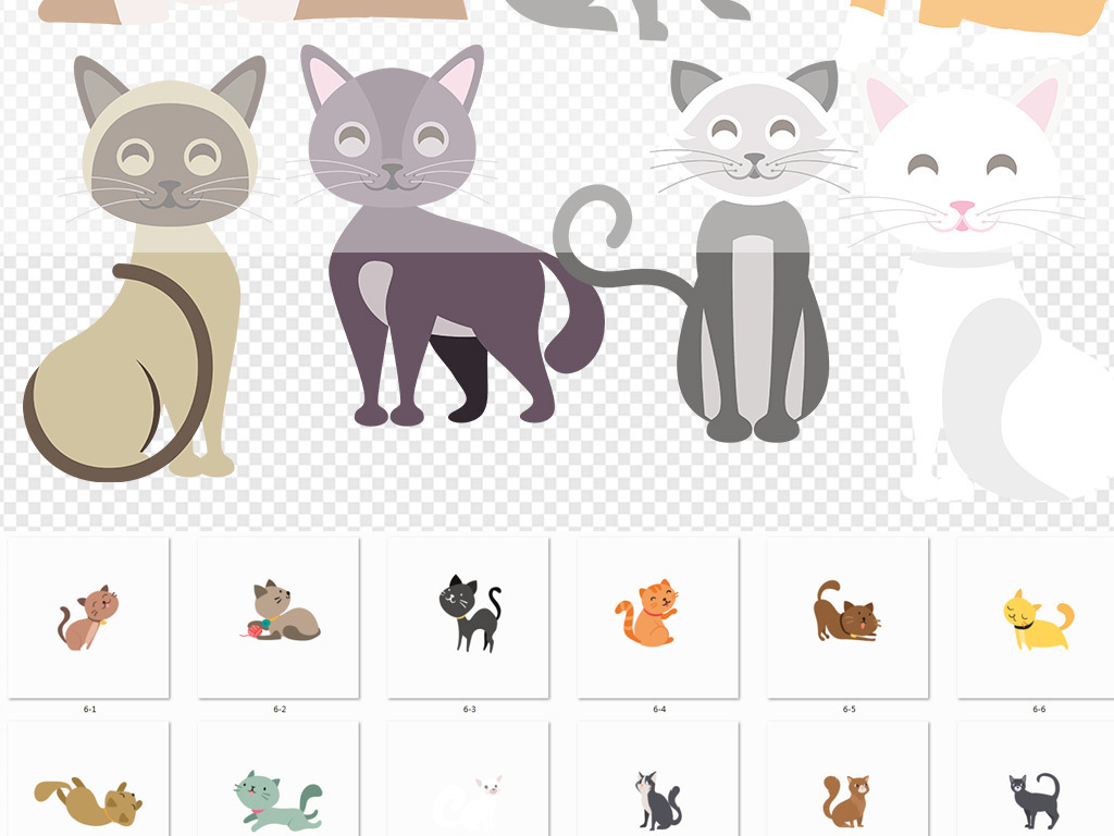多款卡通猫咪免抠图素材(图片编号:16492769)_动物_我