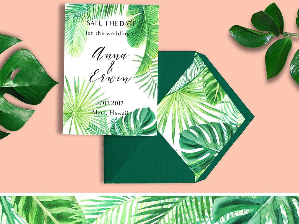 高清免扣清新水彩手绘热带植物元素合集