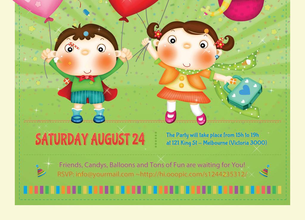 多彩卡通六一儿童节日生日活动宣传海报模板