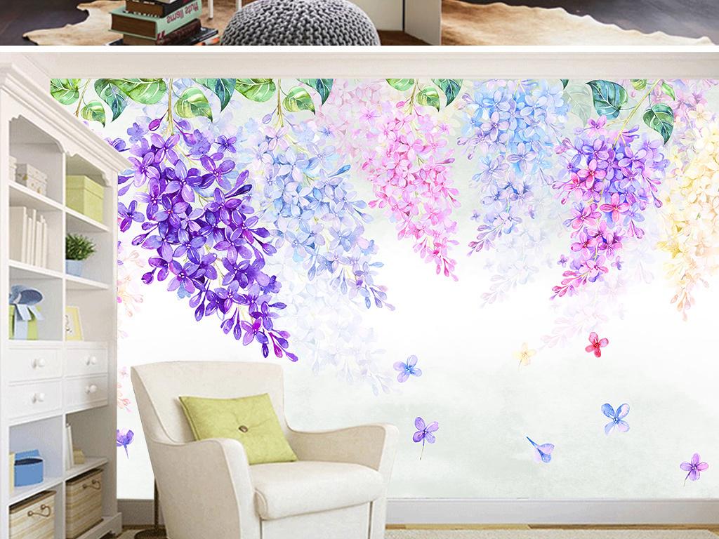 手绘水彩田园紫藤花梦幻背景墙壁画