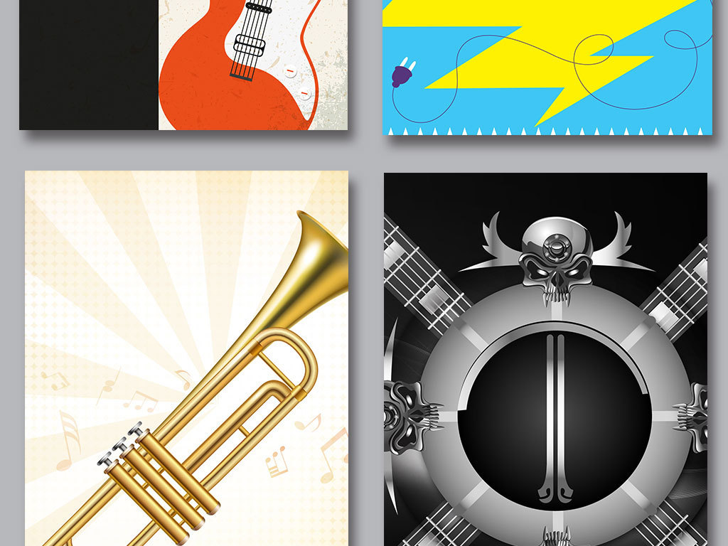 卡通手绘音乐海报展板背景图