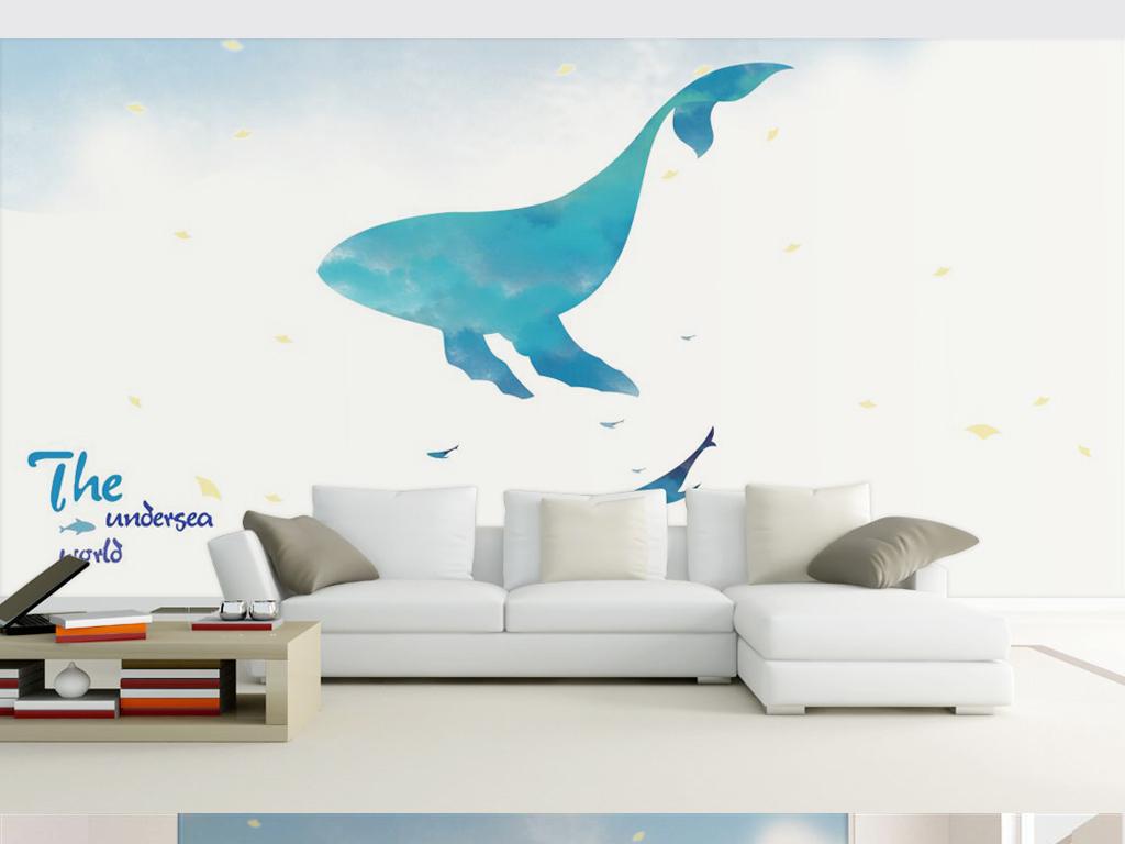 手绘北欧素雅海豚鲸鱼背景墙装饰画