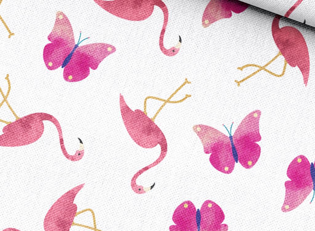 蝴蝶清新抱枕火烈鸟图片粉色清新图案