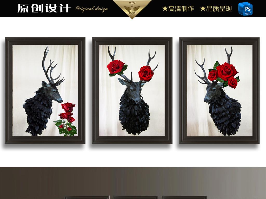 红玫瑰与黑鹿头北欧装饰画图片